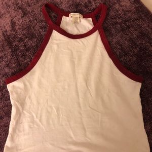 Red and white crop top (not too cropped)